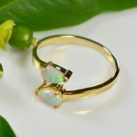 SALE: 18K yellow gold, Solid crystal opal ring, Australian, Natural, Adjustable
