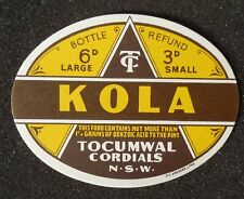 1950s Bottle Label Kola Tocumwal Cordials Tocumwal NSW Australia Denison Co