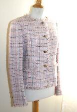 CHANEL -Sz 40 04P Pink-White Tweed Fringed Logo Classic Iconic Jacket Blazer