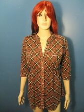 XL red PLAID BUTTON UP ELASTIC WAIST blouse by WEAVERS