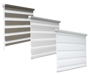 Day and Night Zebra/Vision Window Roller Blinds 3 Colours, 16 Sizes, 200cm Drop