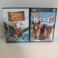 Lot 2 PC Games Open Season Three discs and Petz Horsez 2 instructions included