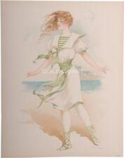 Bathing Beauty on Beach 1908 Victorian 10x13 Color Litho Print- Chromolithograph