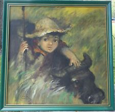 Salvador Cabrera Filipino O/C Painting Big Eyed Boy with Bull - Philippines