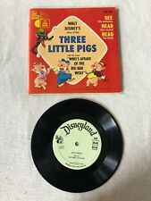 Vintage 1965 Walt Disney THREE LITTLE PIGS   Record and Book LLP 303