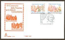 Vatican City Sc# 1354-5, Birth of Carlo Goldini, First Day Cover