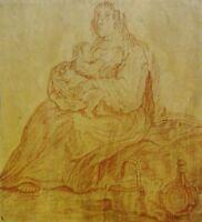unsigniert - antik Rötel-Bild ca 1750-? aus Spanien: MUTTER, BABY, BROTKORB WEIN