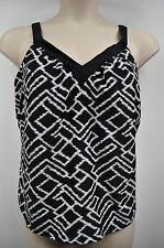 Women Apt 9 Black & White Print Strap Tankini Top Size 16W MSRP $46