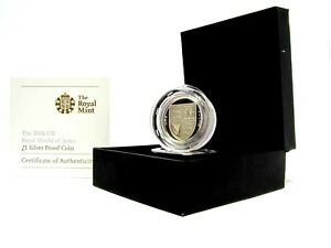 2008 UK Shield of Arms Silver Proof £1 One Pound Coin Boxed COA SCARCE RARE AUT