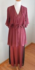 Burgundy Silk Peignoir Robe Nightgown Negligee Gown SET Honeymoon Pajamas Chic L