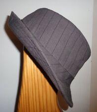 L XL Mens Carbon Fedora Trilby Hat 100% Cotton Gray Black Stripe Center Dent