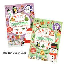 Natale Primo Libro da Colorare con Adesivi Colore Casuale - Grande Stampa