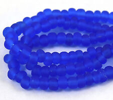 "Czech Glass Seed Beads Size 6/0 "" SAPPHIRE BLUE MATTE "" Strands"