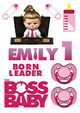 Personalized Boss Baby Pink characters decoration ICING WAFER edible cake topper