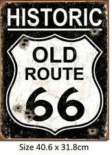 Old Route 66 Weathered Tin Sign 1938  40.6 x 31.8cm Made in USA not China Fake