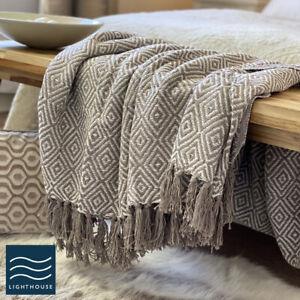 Luxury Eco Friendly Natural Linen Beige Abstract Diamond Sofa Throw Blanket
