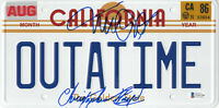MICHAEL J FOX CHRISTOPHER LLOYD BACK TO THE FUTURE  SIGNED LICENSE PLATE BAS 6