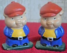 Set of 2 Vintage Cast Iron Pig Piglet Book Ends Painted by Tab Bookends