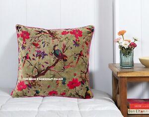 Velours Vert Coussin Housse Oiseau Floral Imprimé Canapé Ethnique Indien 55.9cm