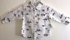 Old Navy Baby Boy's Sz 6-12M Shirt Button Down White Long Sleeves Nautical NWT