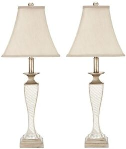 Lamp 28 in. Resin Base in Silver Finish with Rotary On/off Switch (Set of 2)