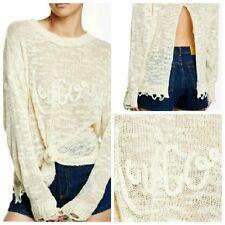 WILDFOX Couture Unicorn Dream Carlotta Backless Open Back Distressed Sweater XS