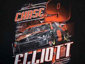 Chase Elliott #9 Hooter's T-Shirt NEW Black and Orange NWT front & back