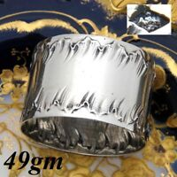 Antique French Sterling Silver Napkin Ring, Louis XVI or Rococo Pattern, 40gm