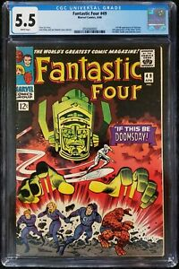 FANTASTIC FOUR #49 CGC 5.5 1st GALACTUS 2ND SILVER SURFER - WHITE PAGES WOW