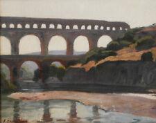 """Victor Crumière. """"Pont du Gard"""". Huile sur toile v706"""
