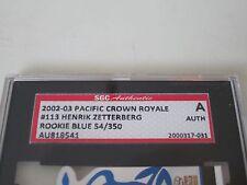 HENRIK ZETTERBERG AUTOGRAPHED 2002-03 PACIFIC ROOKIE RC CARD-SGC SLAB- 54/350 SP
