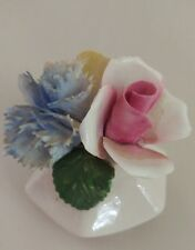 Royal Adderley Floral Bone China made England Flower Basket Blue Yellow Pink