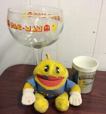 """lot of 3 1980's """"Pac-Man"""" items Glass - Mug and Plush doll midway video game"""