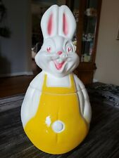 Vintage 1960s 1970s Easter Bunny Plastic Blow Mold Cookie Jar - A KENLY PRODUCT