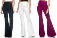 Women's High Waist HUGE Flare Leg Pants Dressy Work Stretch White Black Long