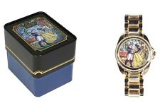 DISNEY BEAUTY AND THE BEAST PRINCESS BELLE STAINED GLASS WATCH IN COLLECTORS TIN
