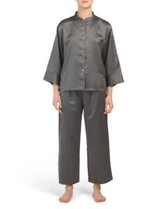 NWT N NATORI Charmeuse Mandarin Pajamas Set Heather Grey Medium - Retail $139.00
