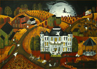 Halloween Trick Or Treat monster ghost witch Giclee ACEO print folk art Criswell
