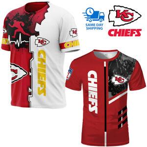 2021 New Kansas City Chiefs T-shirt Football Men's Short Sleeve Tee Summer Top