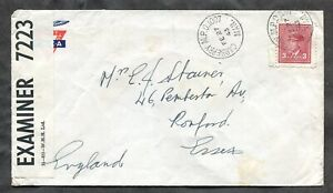 p779 - Canada CARBERRY Manitoba 1943 MPO 1007 Cancel on CENSORED Cover. RCAF