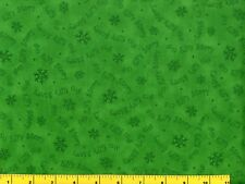 Elf Story & Snowflakes on Christmas Green Quilting Fabric by the Yard  #3045
