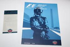 Racing Program Ticket Stub Start Grid Formula 1 F1 US Grand Prix 2003