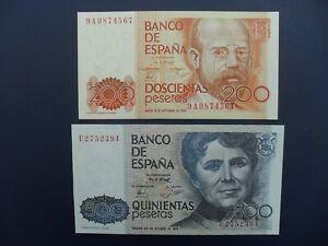2No. 1979/80 SPAIN 200 & 500 PESETAS BANKNOTES ORIGINAL aUNC & aUNC/UNC