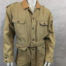 M Julian Adventures Safari Jacket Sz 40 Aztec Lining Belt Tan Brown Heavy