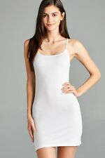 Extra Long Cotton Camisole Dress Tunic Slip Stretch Spaghetti Strap Tank Top
