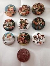 Lot of 9 Toy Story 3 Badges - 3cms diameter - for loot bags party favours