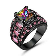 Rainbow topaz Ring 18K Black Gold Fillled Jewelry For Women/Men Ring Size 8