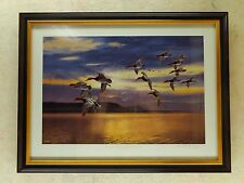 David Maass Daybreak at Lake Pepin-Migrating Canvasbacks Framed Signed Dated ExC