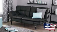 Futon Sofa Bed Memory Foam Sale Cheap Leather Couch Lounger Sleeper Black NEW