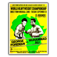 METAL SIGN WALL PLAQUE Muhammad Ali vs. George Foreman Vintage poster print
